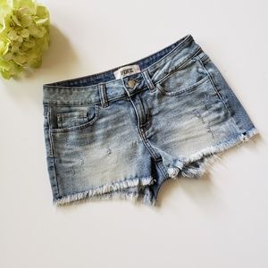 VS Pink Light Wash Cuttoff Denim Shorts